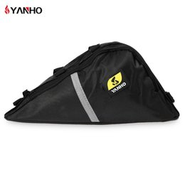 Wholesale Front Bike Shocks - Water Resistant Bicycle Triangle Bag Frame Front Tube Oxford Fabric Cycling Bike Zipper Pack With Shock-Absorbing Sponge Hot +B