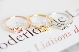 Wholesale Ring Knots - Wholesale-Min 1pc-gold,silver,rose gold Infinity Knot Ring , Heart knot rings for women EY-R022