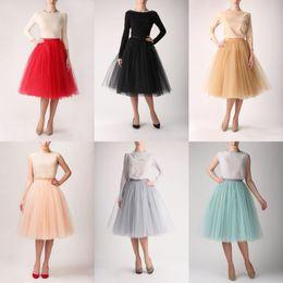 Wholesale Satin Gowns Skirts Petticoats - Colorful fashion Tutu skirt Adults Teens Women 5 Layers Tulle Tutu Skirts Princess Petticoat Skirts Free Shipping J1111