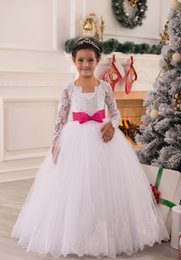 Wholesale oranges floor lenght dress - 2015 White Ball Gown Flower Girl Dresses with Pink Bow Sash Lace Long Sleeves Tulle Floor Lenght Girl Birthday Christmas Dresses