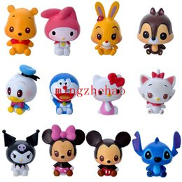 Wholesale Set Girl Kitty - Sale 12pcs set Classic Cartoon Action Figure TSUM Mickey Minnie Mouse Hello Kitty Stitch Doraemon Action Figures Toys Model Toy for Girls
