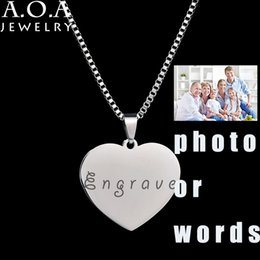 Wholesale Photo Engravings - Wholesale- Personalized Stainless Steel Name Pendant Necklace Heart Love Engrave Photo Name Necklace For Family Gift