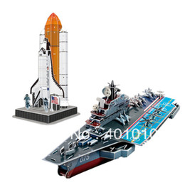 Wholesale 3d Puzzle Cubicfun - Wholesale-Cubicfun 3D puzzle Space shuttle and Aircraft carrier model 2 select 1 free air mail