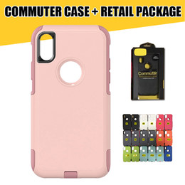Wholesale Black Plastic Retail Packaging Package - Commuter Hybrid Case for iPhone X 8 High Quality Shockproof TPU+PC Phone Case Cover for iPhone 7 Galaxy S8 S8Plus with Retail Packaging