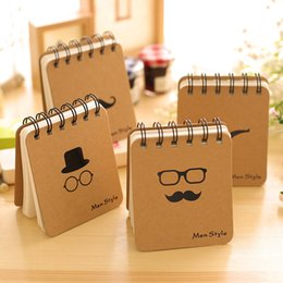 Wholesale Book Cover Printing - Wholesale- Black Moustache & Glasses Print Brown Cover Portable Mini Coil Book Notebook Diary Notepad
