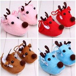 Wholesale Toddler Girls Winter Boots Cheap - Christmas deer toddler shoes!Cartoon newborn shoes,velvet baby shoes,kids snow boots,warm infantshoes,cheap girls shoes.9pairs 18pcs.ZH