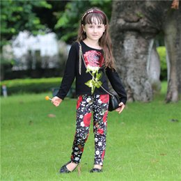 Wholesale 5t Fall Outfit - Pettigirl Retail Girls Clothing Set Kids Flower Outfits With Big Rose Upper And Print Long Pants For Fall Children Clothes CS80813-74F