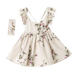 Vêtements de boutique pour les enfants en Ligne-Été Nouveau Style Bébé Filles Robe Lin Sans Manches Enfants Vêtements Bandeau ensemble Floral Filles Boutique Vêtements Dos Nu Bébé Vêtements