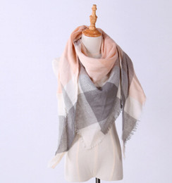 Wholesale Triangle Scarves For Women - Wholesale-Free shipping Winter Triangle Scarf For Women Shawl Imitation cashmere Plaid Scarves Blanket