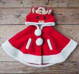 Wholesale Girls Fur Hooded Poncho - winter Children reindeer accessories princess Fur Boleros animal shawls girls burnoose kid's Poncho girl cape kid clothing free shipping