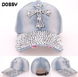 Wholesale Woman Fancy - Quality Rhinestone Bling Cross Hats Washed Denim Adjustable Baseball Caps Fancy Curved Hat Adults Womens Summer Designer Skull Caps