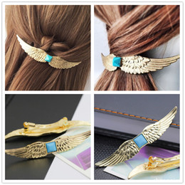 Wholesale Wholesale Hair Jewerly Accessories - Europe Women Golden Angels Hair Clip Hair Jewerly Hairgrip Accessory Headwear