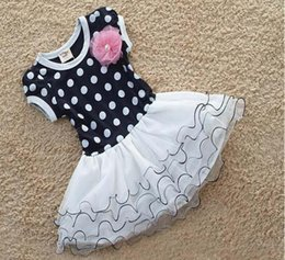 Wholesale Girls Dress Wholesales Korea - Summer Dress Girls short sleeve Polka Dot Flower Dress Cheap Fashion Korea Children's Dancewear Princess Party Dresses Tutu Skirt