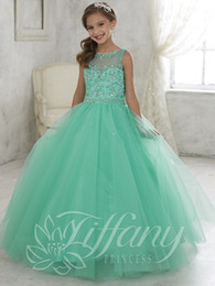 Wholesale Mint Beads - Beautiful Mint Green Ball Gown Girls Pageant Dress lace up back kids evening gowns 2016 Lovely flower girl dress