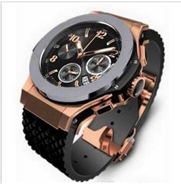 Wholesale Gold Bang - wholesale-High Quality Men All Subdials Work Mechanical Automatic Wristwatches Luxury Watches Top Brand Rubber Strap Big Bang Gift for