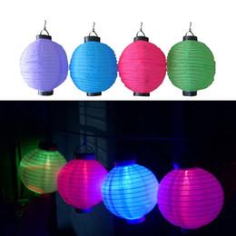Wholesale 12 Solar Lights - New 8'' 12'' LED Solar Lanterns Chinese Lantern Lamps Solar Christmas LightLED Light String For Wedding Yard Garden Park Light