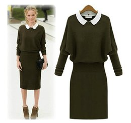 Wholesale Knit Sweater Dresses Women - 2016 winter women's dresses autumn and winter women's suit thick knit sweater dress Winter Dress plus size casual dresses DM230