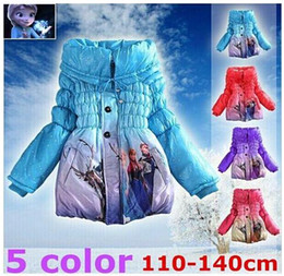 Wholesale Kids Wool Jackets - 1PCS,KIDS Frozen coats girls princess winter warm Coat For Girls cotton padded jacket girls outerwear Children clothes 5color free shipping