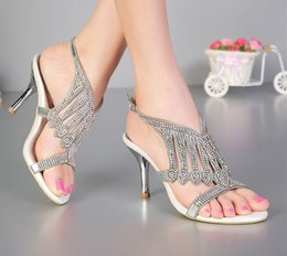 Wholesale Sandals Bridal Open Toe Dress - Open Toe 3 Inches Summer Sexy High Heel Sandals Silver Rhinestone Wedding Dress Shoes Women Fashion Slingbacks Bridal Shoes