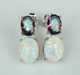 Wholesale Mystic Opal - Attractive lady's white fire opal stud earring with rainbow fire mystic topaz