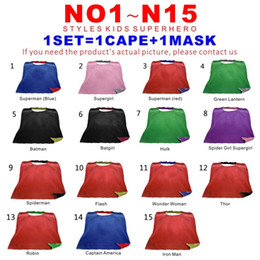 Wholesale Halloween Movie Prop - Double Sides 15 Designs Teen & Adult Superhero cape+mask Satin fabric capes Christmas Halloween Cosplay Capes Prop Party Costumes