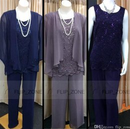 Wholesale Lace Wedding Jackets For Bride - Lace Three Pieces Mother of the Bride Suits for Wedding Party with Long Jacket Jewel Mother Pant Formal Wear 2016 Purple Navy Blue