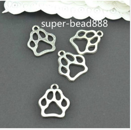Wholesale Paw Print Beads - Free Ship 200pcs Antique Silver charms paw print charms pendants for DIY jewelry findings 13x11mm