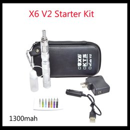 Wholesale Kts X6 V2 - 2015 X6 V2 KTS Starter Kit with 1300mAh Variable Voltage X6 Battery 2.5ml V2 atomizer KTS zipper case e cigarette kits by DHL free