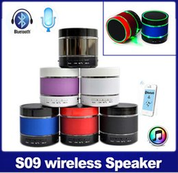 Wholesale Car Audio Led Lights - Wireless S09 Bluetooth Speaker Bluetooth Audio Mini Speaker Support TF Card Built-in Mic With 3 LED Light Ring Earphone Port Speaker Car mp3