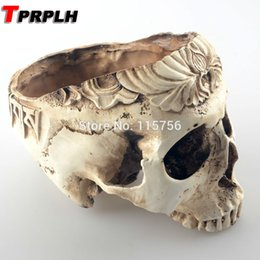 Wholesale Planter Vegetable Garden - Tprplh Garden Room Decorative Resin Human Skull Seeds Flowers Pot Planter Skeleton Bonsai Mince Vegetables Container W28138