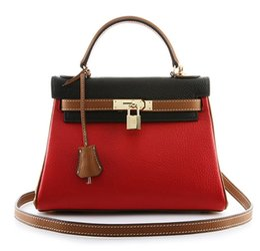 Wholesale Padlock Blue - Ainifeel Women's Padlock Shoulder Handbags Hobo Bag leather tote handbags