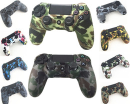 Wholesale Soft Rubber Sleeves - Durable Camouflage Camo Silicone Gel Rubber Soft sleeve Skin Grip Cover Case For Playstation 4 PS4 Pro PS4 Slim Gamepad Protect