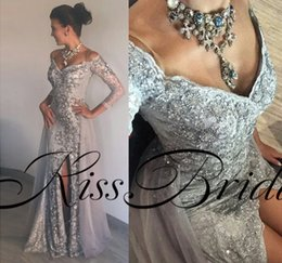 Wholesale Grey Sequin Long Dress - Silver Grey 2018 Prom Dresses Long Sleeves Lace Sexy Formal Evening Gowns Off The Shoulder Split Overskirts Party Gowns