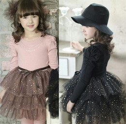 Discount ruffles cakes - 2016 new Spring Autumn children girl length sleeve dress kids Cake princess girl dress