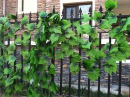 Wholesale Grapes Vines Wholesale - Popular 240cm Artificial Grape Leaf Green Leaves rattans for Fence Home Decor Bar Restaurant Wedding fence Decoration climbing vines