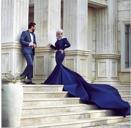 Wholesale Cathedral Train Blue Dresses - Dark Navy Long Sleeves Long Train Muslim Evening Dresses With Hijab High Neck Kanfan Dubai Arabic Dresses 2015 Evening Gowns