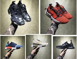 Wholesale Hongkong Shoes - Perfect Boost NMD Shoes Red Apple HongKong Vlone Black Zebra BY3013 BB4297 BY1905 NMD R1 Real Boost Men Women Running Shoes Sports Sneakers