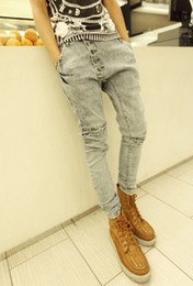 Wholesale Mens New Stylish Jeans - Wholesale-Mens Harem Jeans New Stylish Fashion Drop Male Baggy Low Crotch Skinny Hip Hip Jeans Men Denim Pants