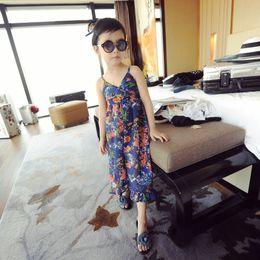 Wholesale Girls Leopard Print Jumpsuit - Baby clothes Girl's Floral Jumpsuit Suspender Trousers Pant Cotton Flower Dot Print Kids Summer Outfit 5p l