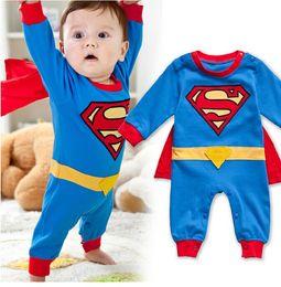 Wholesale Superman Romper Long Sleeve - Baby Boys Superman Long Sleeve Romper with Red Cloak Infant Kids Cartoon Halloween Christmas Costume Children One-Piece Clothing Jumpsuits