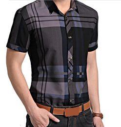 Wholesale men high fashion dress clothes - Wholesale-2015 New Men Summer Clothing Men's Fashion Shirt Casual Brand Short Sleeve Dress Shirt Male High Quality Plaid Shirts for Man