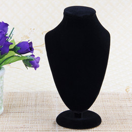 Wholesale mannequins jewelry necklace display stand - 170*100mm Small Black Velvet Bust Necklace Jewelry Display Stand,Showcase Counter Table Fashion Jewelry Display Stand #95192