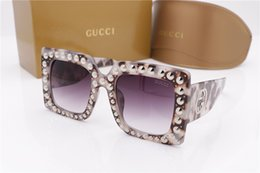 Wholesale Large Sunglasses Case - Luxury Brand Sunglasses 0145S Large Frame Elegant Special Designer with Rivets Frame Built-In Circular Lens Top Quality Come With Case