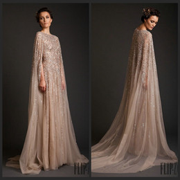 Wholesale Nude Sparkly Dresses - Sparkly Krikor Jabotian Long Evening Dresses 2015 Robe De Soiree Scoop Beaded Tulle Long Champagne Formal Dresses with Cape