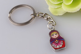 Wholesale Antique Russian Silver Jewelry - 10pcs Fashion Jewelry Drip Charm Key Chains -Enamel Antique Silver Matryoshka Russian Dolls Key Rings Keychains Decorative Gifts