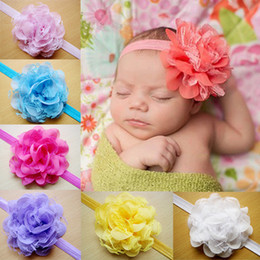 Wholesale Wholesale Floral Head Bands - Hot Selling Children Infant Floral Headbands Europe Lace Chiffon Baby Headbands Accessories New Born Baby Lace Head Bands 10Colors UN009