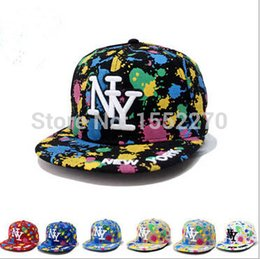 Wholesale Ny Style Caps - Wholesale-2015Cool Ink Splatter New York Snapback Baseball Cap Unisex Style Adjustable Hip Hop Cap Sun Hat NY Cap Free Shipping