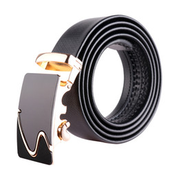 Wholesale Boys Cowboy Belt - Mens Waistband Real Genuine Leather Belts for Men Boys Adjustable Ratchet Cowboy Fashion Alloy Automatic Buckle Waistband 3.5cm 130cm bzw16