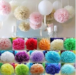 Wholesale Colorful Tissue Paper Flower Wedding - 6'' 50pcs lot Colorful Tissue Paper Pom Poms Flower Balls Wedding Birthday Party AE02026