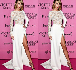 Wholesale Evening Dreses Sleeves - 2015 Taylor Swift Celebrity Dresses Long Sleeves White Prom Dreses Crew A-line Side Slit Court Train Evening Gowns Beaded Formal Wear Satin